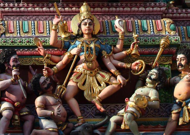 Mahishasura Mardini Goddess as described in Mahishasura Mardini stotram.